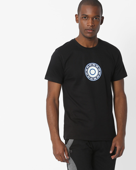 Glow-In-The-Dark Print Crew-Neck T-shirt By Souled Store ( Black )