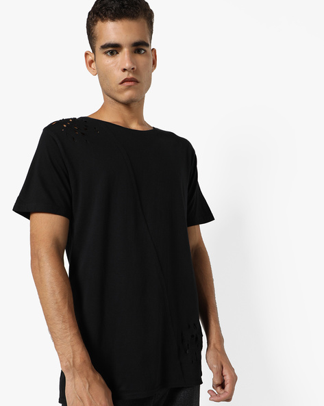 Graphic Print Crew-Neck T-shirt By ADAMO LONDON ( Black )