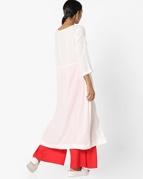 Straight Kurta With Contrast Yoke By Project Eve IW Casual ( Offwhite )