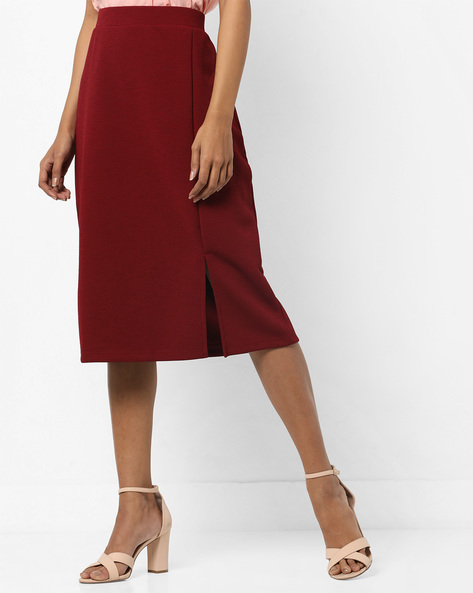 Pinstriped High-Rise Pencil Skirt By AJIO ( Maroon )