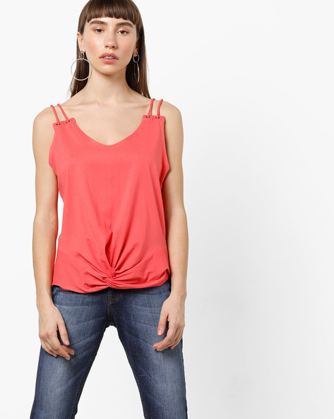 Strappy Knot-Front T-Shirt By AJIO ( Coral )