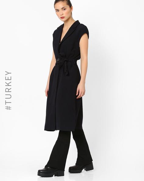 Sleeveless Wrap Coat With Tie-Up By Closet London ( Navyblue )