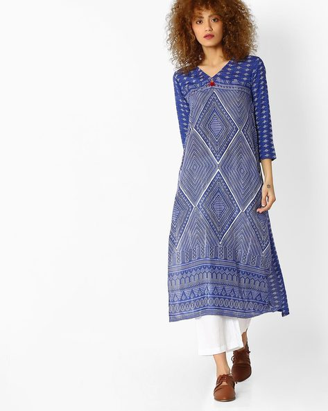 Geometric Print Straight Kurta By Global Desi ( Blue )