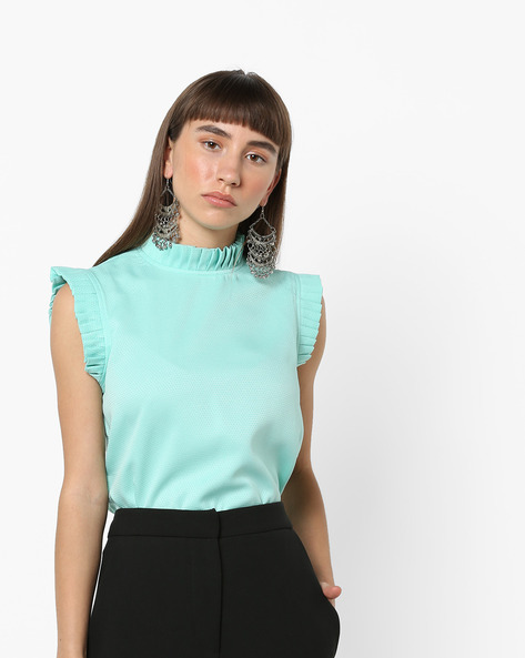 High-Low Top With Ruffled Trims By AJIO ( Green )