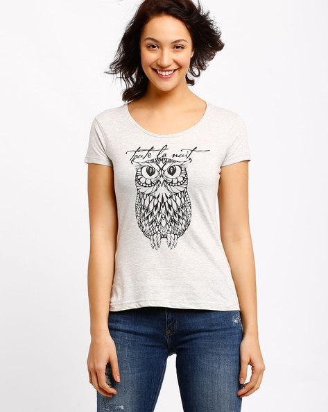 Graphic Print T-shirt By AJIO ( Cream )