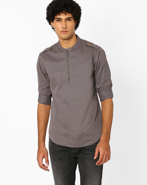 Mandarin Collar Shirt With Shoulder Tabs By AJIO ( Olive )