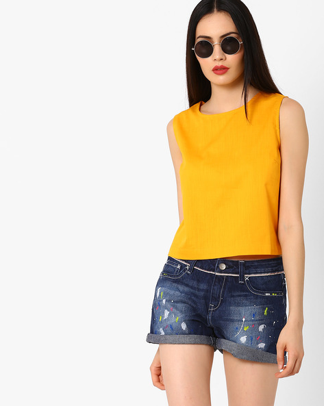 Sleeveless Boxy Top By AJIO ( Yellow )