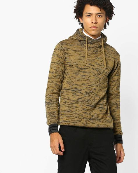 Hooded Pullover With Contrast Sleeve Hems By AJIO ( Khaki )