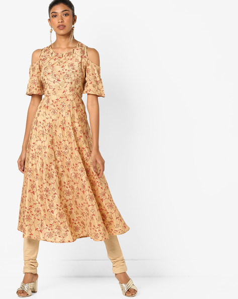Floral Print Cold-Shouldered Anarkali Kurta By Indian Ink ( Beige )