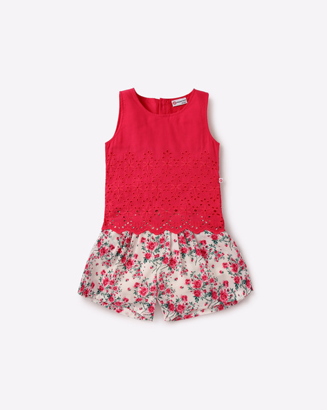 Floral Print Shorts With Sleeveless Top By Peppermint ( Pink )