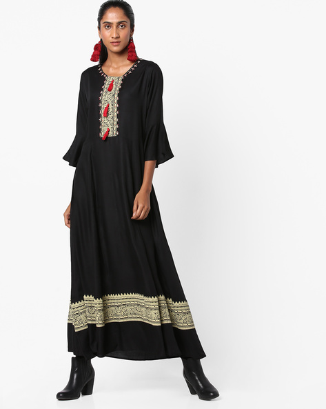 Printed A-line Dress With Bell Sleeves By Shree ( Black )