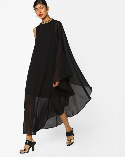 Cape Dress With Embroidered Neckline By AJIO ( Black )
