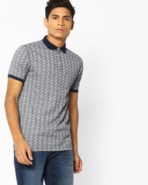 Printed Jacquard Polo T-Shirt By NETPLAY ( Navy )