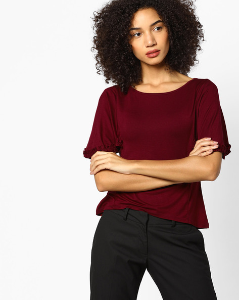 Panelled Top With Frilled Sleeve Hems By Femella ( Maroon )