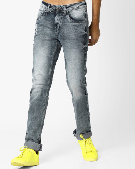 Mid-Rise Distressed Michael Slim Fit Jeans By FLYING MACHINE ( Blue )