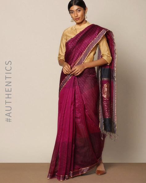Handloom Pure Silk Cotton Chanderi Saree By Indie Picks ( Purple )