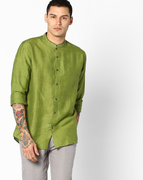 Slim Fit Shirt With Mandarin Collar By British Club ( Green )