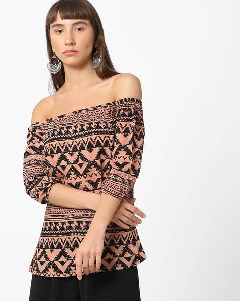 Printed Off-Shoulder Top By BOSSINI ( Black )