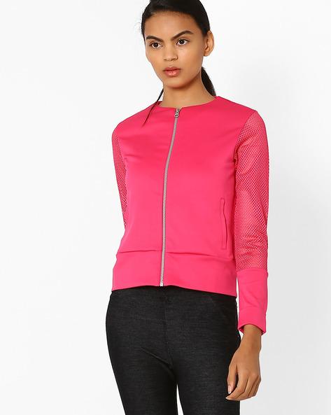 Scuba Knit Sweatshirt By AJIO ( Pink )