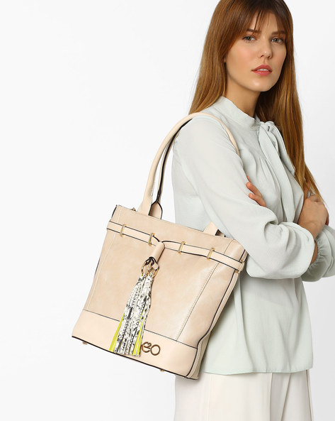 Faux-Leather Tote Bag With Embellished Tassels By E2O ( Beige )