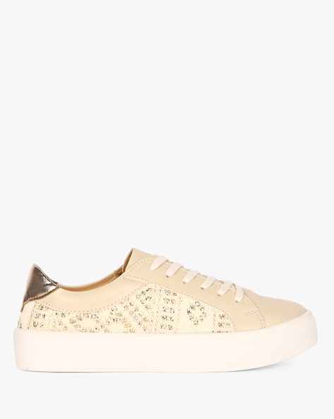 Embellished Low-Top Lace-Up Sneakers By AJIO ( Beige )