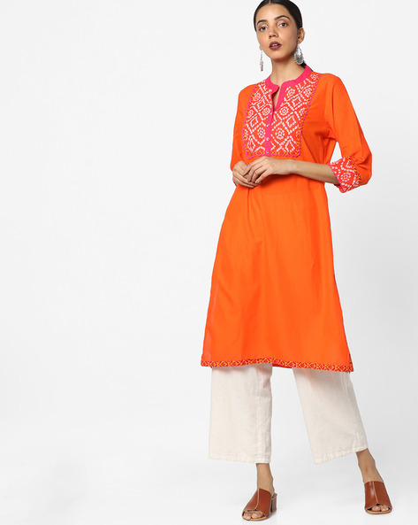 Straight Kurta With Contrast Yoke By Jiyaa ( Orange )