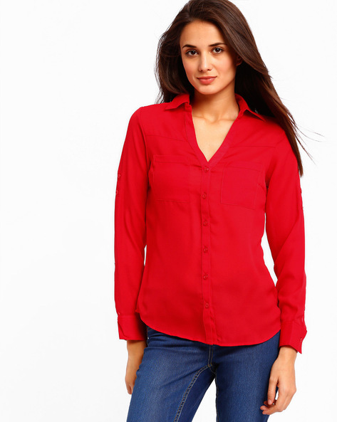 Relaxed Fit Shirt By PrettySecrets ( Red )