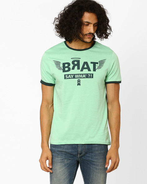 Printed Regular Fit T-shirt By AJIO ( Green )