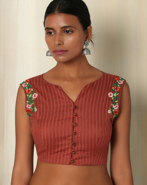 Embroidered Cotton Sleeveless Blouse By The Blouse Factory ( Brown )