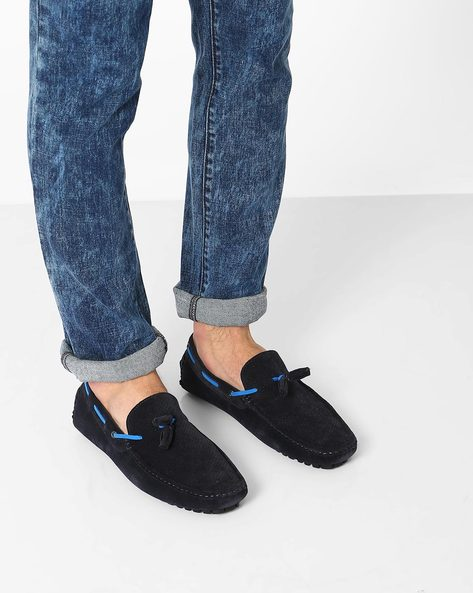 Faux-Leather Loafers With Tassels By Carlton London ( Blue )