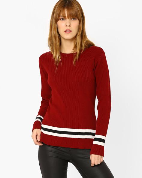 Flat-Knit Sweater By AJIO ( Maroon )
