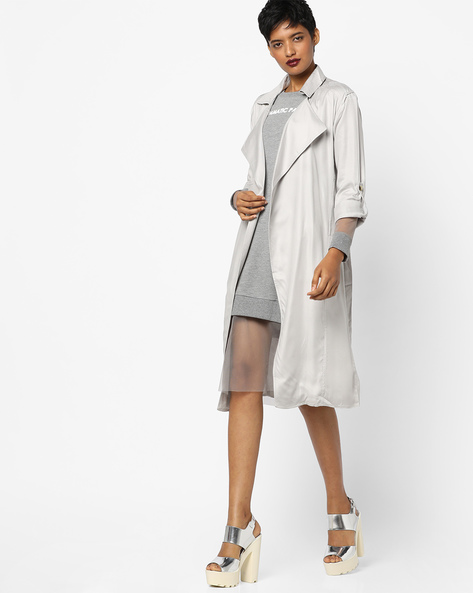 Trench Coat With Roll-Up Sleeves By AJIO ( Grey )