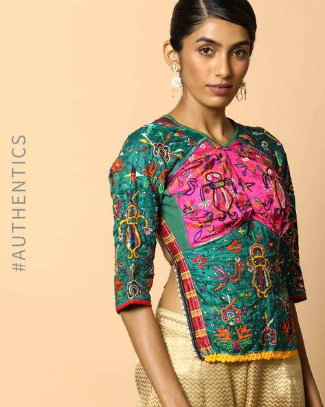 Kutch Embroidered Backless Blouse By Indie Picks ( Multi ) - 460103680001
