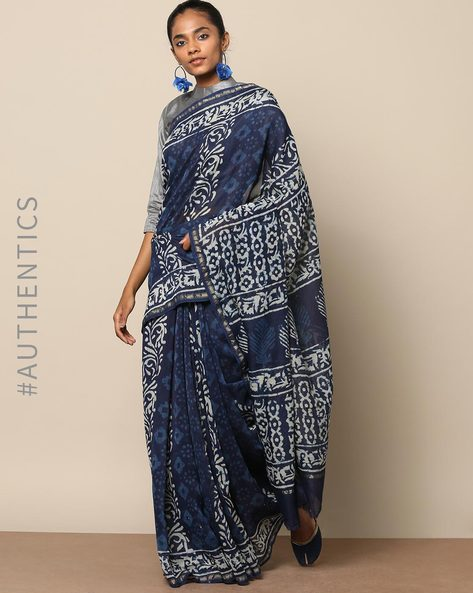Handblock Indigo Print Chanderi Saree With Zari By Indie Picks ( Indigo ) - 460146809001