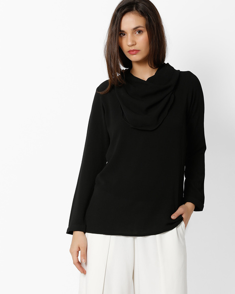 Cowl-Neck Top With Long Sleeves By And ( Black )