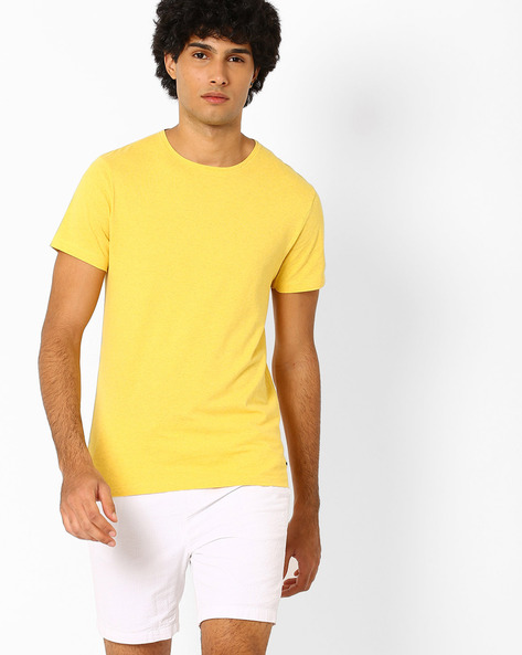Crew-Neck Slim Fit T-shirt By Jack & Jones ( Yellow )