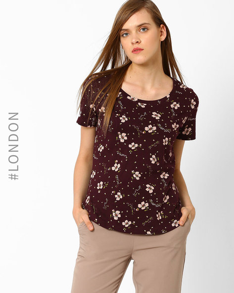 Floral Print T-shirt With High-Low Hem By Marks & Spencer ( Burgundy )