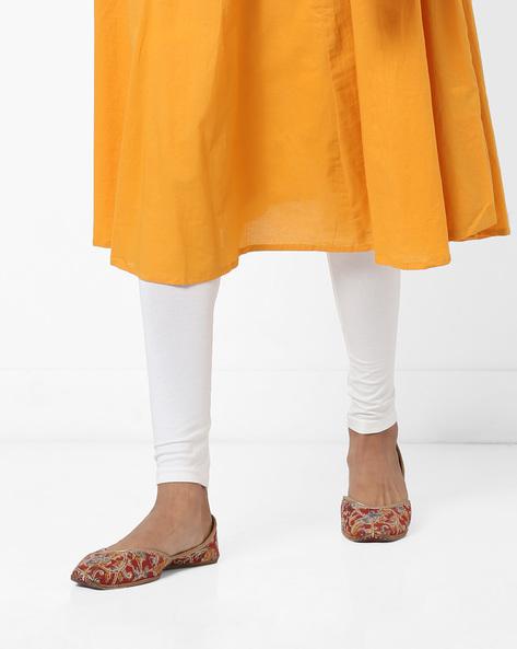 Churidar Leggings With Elasticated Waistband By AJIO ( Offwhite )