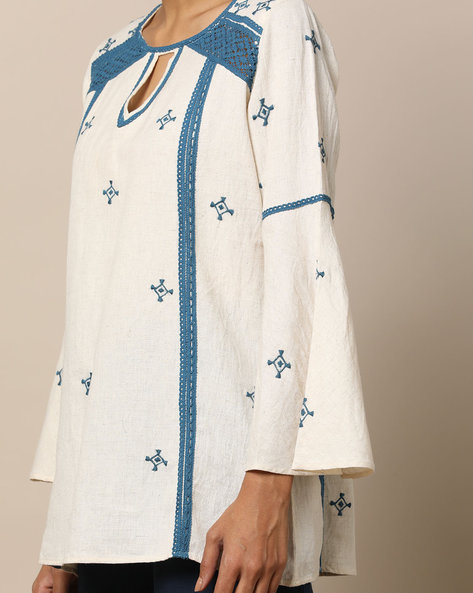 Hand Embroidered Lace Cotton Top By Seasons ( Offwhite )