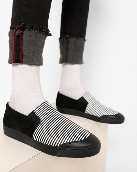 Striped Slip-On Casual Shoes By AJIO ( Blackwhite )