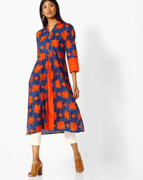 Printed Kurta With Front Slit By Purple Tree ( Orange )