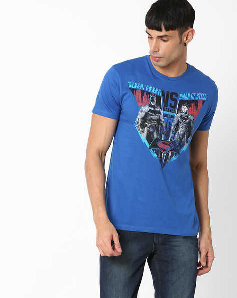 Dawn Of Justice Print T-shirt By Free Authority ( Blue )