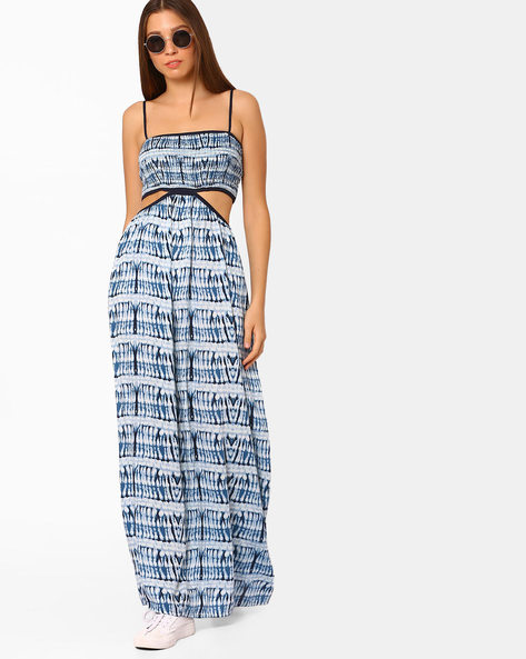 Tie & Dye Print Maxi Dress By Rena Love ( Navyblue )