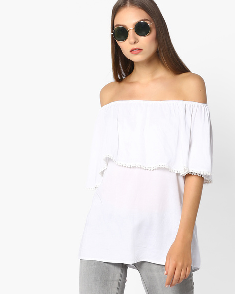 Ruffled Off-Shoulder Top By And ( White )