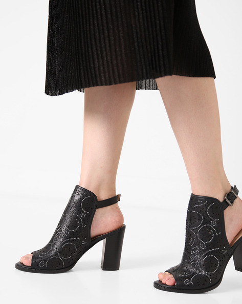 Block Heels With Embellishments By AJIO ( Black )