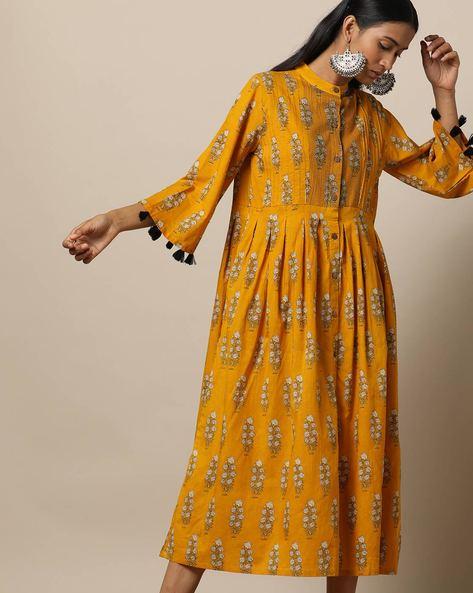 Printed Cotton Pleated Midi Dress With Pintucks By Seasons ( Yellow )