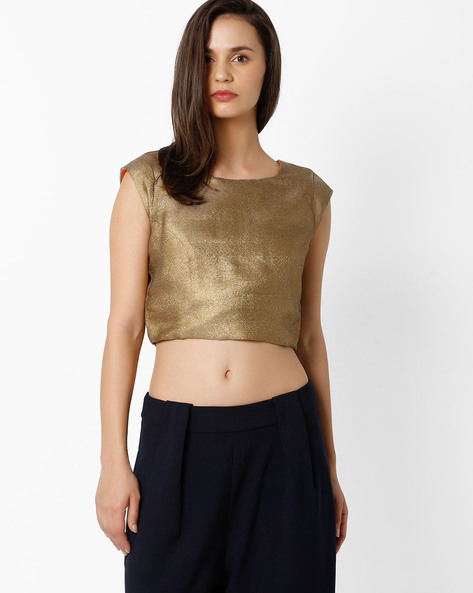 Crop Top With Cap-Sleeve By Global Desi ( Beige )