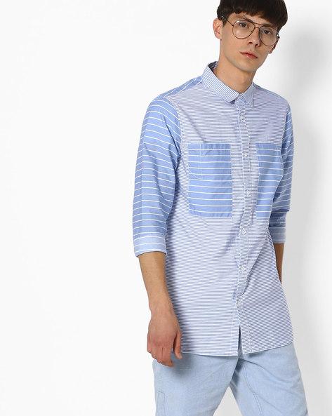 Striped Slim Shirt By ADAMO LONDON ( Multi )