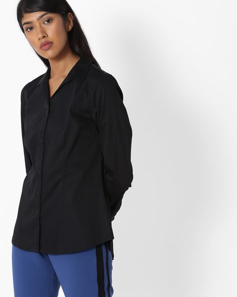 Top With Button Placket By Project Eve WW Work ( Black )