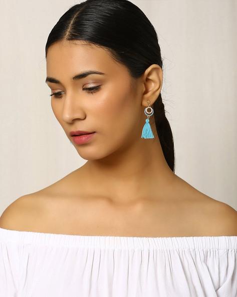 Beaded Drop-Earrings With Tassels By Indie Picks ( Blue )